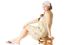 Long sitting woman Royalty Free Stock Photography