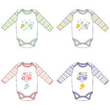 Long-sleeve baby bodysuits with cute design Royalty Free Stock Photo
