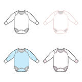 Long Sleeve Infant Bodysuit Set Royalty Free Stock Images