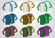 Long sleeve men blank t-shirt template Royalty Free Stock Images