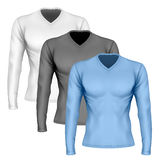 Long-sleeve t-shirt with v-neck. On the mens sports figure. Front view of Vector illustration. Fully editable handmade mesh stock illustration