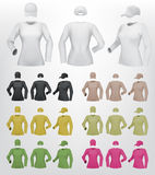 Long sleeve women blank t-shirt and cap template Stock Photography