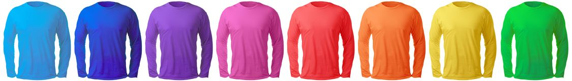 Long Sleeved Shirt Design Template In Many Color Royalty Free Stock Photos