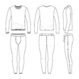 Long sleeved shirt and training tights. Front, back and side views of lon sleeved shirt and training tights. Blank  templates. Clothing set. Sportswear. Fashion Royalty Free Stock Photos