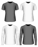 Long-sleeved and short-sleeved variants of t-shirt. Mens t-shirt. Front view. White and black variants of t shirt. Long-sleeved short-sleeved Fully editable Stock Photo