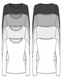 Long-sleeved T-shirt design template. (front & back Royalty Free Stock Image