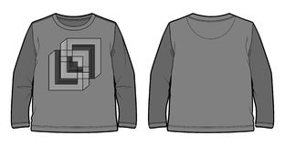 Long-sleeved T-shirt with geometric print. Front and back view of a long-sleeved T-shirt with geometric print stock illustration