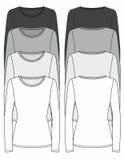 Long-sleeved T-tröjadesignmall stock illustrationer