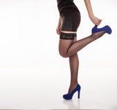 Long Slender Female Legs In Black Stockings Stock Images