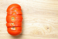 Long sliced tomato Royalty Free Stock Image