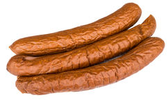 Long smoked sausage isolated on white Royalty Free Stock Photography