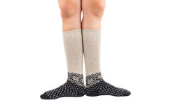Long socks on his feet Royalty Free Stock Photo