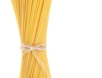 Long spaghetti raw isolated on white background Royalty Free Stock Photos