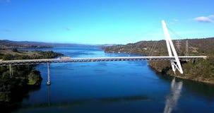Batman Bridge by the Tamar river near Sidmouth. Long spanning Batman Bridge by the Tamar river near Sidmouth, Tasmania stock video footage