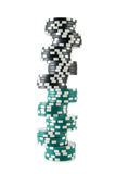 Long Stack Of Casino Chips Stock Image
