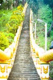 Long stairs to a chinese buddhist temple Royalty Free Stock Photography
