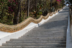 A long stairs to reach buddhist temple Royalty Free Stock Photos