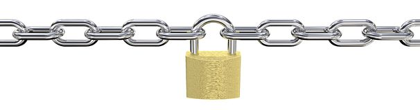 Long Steel Chain with Padlock in middle. Royalty Free Stock Photos