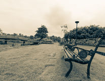 Long steel chair. Steel chair in park thailand Royalty Free Stock Photo