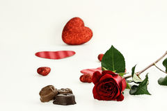 Long Stem Rose and Chocolate Candy Stock Photos