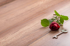Long Stemmed Red Rose and Key on Wooden Surface Royalty Free Stock Image