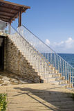 Long stone stairs with many steps on a sea background Royalty Free Stock Image