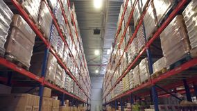 Long storage corridor between rows of shelves with goods stock video