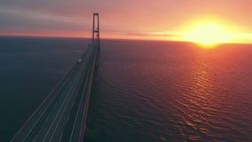 Long storebaelt bridge over sea stock footage
