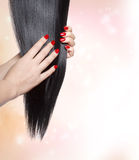 Long straight black hair Royalty Free Stock Photos