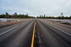 Long Straight Highway. Highway 97 is a long straight road traveling North and South through Central Oregon stock images