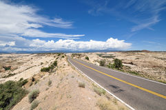 Long straight mountain road in Escalante National Park. USA Stock Images