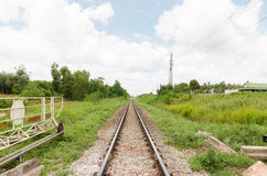 Long straight piece of rail track Royalty Free Stock Photos