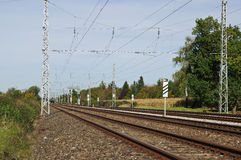Long and straight railway tracks Royalty Free Stock Image
