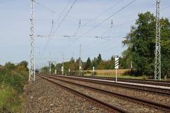 Long and straight railway tracks Royalty Free Stock Image