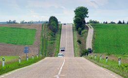 Long straight road in the countryside. Of France Royalty Free Stock Photo
