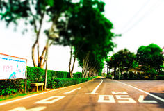 Long straight road. Crossing the next Royalty Free Stock Image