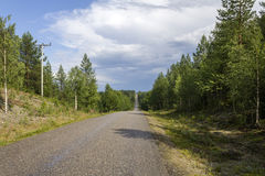 Long straight road. In eastern Finland royalty free stock image