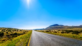 Long Straight Road through the Endless wide open landscape of the semi desert Karoo Region in Free State and Eastern Cape province. S in South Africa under blue Royalty Free Stock Photography