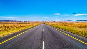 Long Straight Road through the Endless wide open landscape of the semi desert Karoo Region in Free State and Eastern Cape province. S in South Africa under blue Stock Images