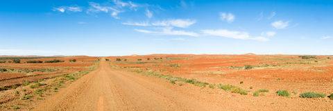 Long Straight Road Through Outback, Australia. Panorama of Long Straight Road Through Outback, Australia Stock Image