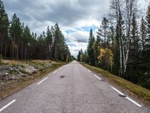 Straight Road. A long straight road in southern Norway Royalty Free Stock Photos