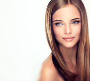 .Long, straight, shiny hair. Royalty Free Stock Images