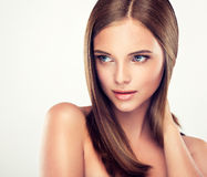 .Long, straight, shiny hair. Stock Photo