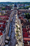 Long Street in the direction of the Golden Gate in Gdansk Stock Photography