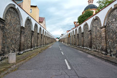 Long street to castle Decin Royalty Free Stock Photography