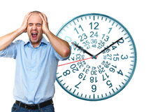 Long stress. Portrait of man screaming with clock background Royalty Free Stock Images