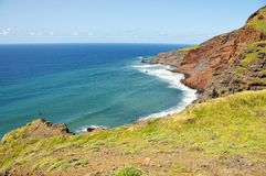 Long stretch of beach under an eroding cliff Royalty Free Stock Photography