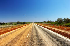 Long Stretch of Road through Australian Outback Royalty Free Stock Image