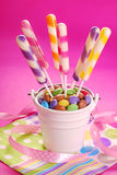 Long striped lollipops on birthday party for kids Stock Image