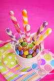 Long striped lollipops on birthday party for kids Royalty Free Stock Photos